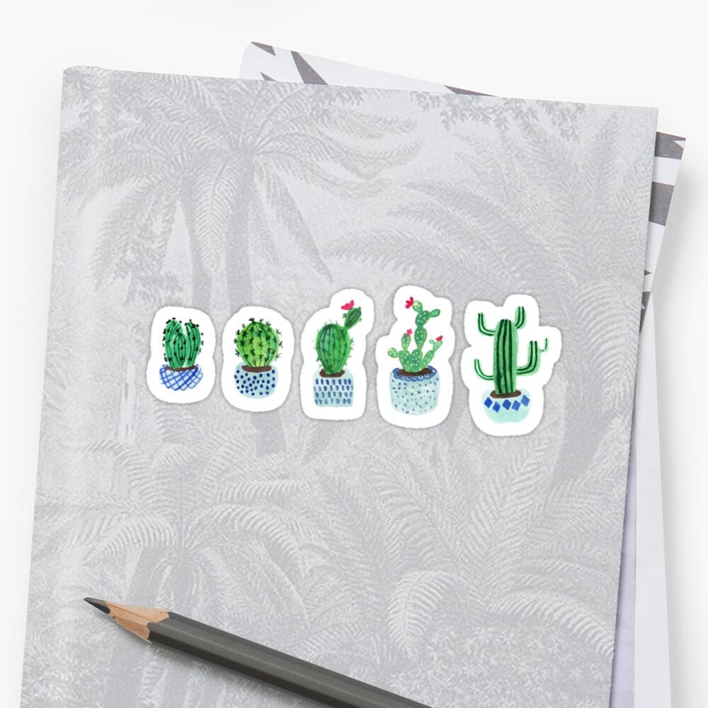 Cactus en acuarela Pegatinas