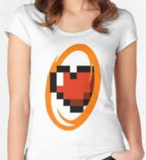 Portal Lover ! Orange Women's Fitted Scoop T-Shirt