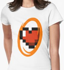 Portal Lover ! Orange Women's Fitted T-Shirt