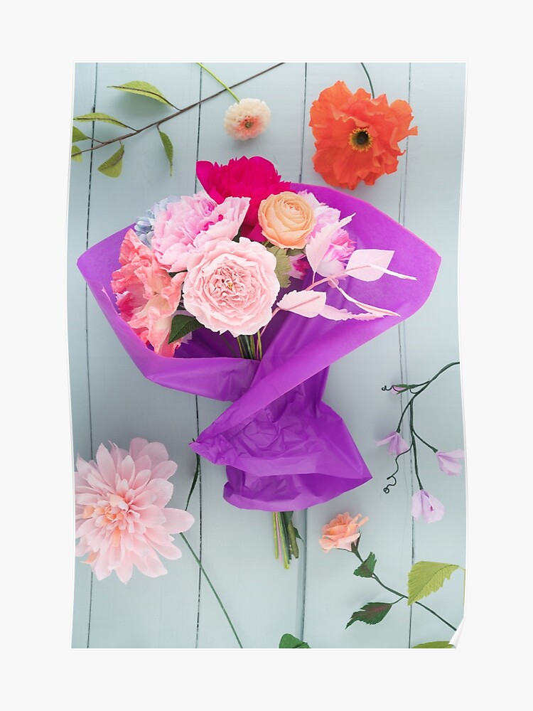Crepe Paper Flower Bouquet Poster