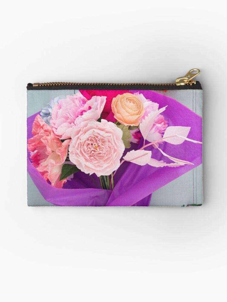 Crepe Paper Flower Bouquet Zipper Pouch By Elisabeth Coelfen