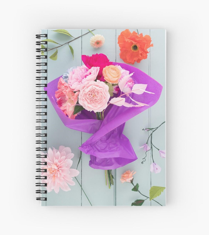 Crepe Paper Flower Bouquet Spiral Notebooks By Elisabeth Coelfen