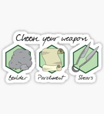 Boulder Parchment Shears (Dark Text): A Dungeons And Dragons Game Sticker