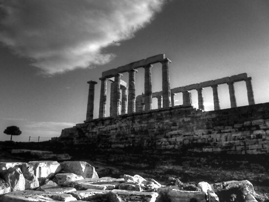 The Temple Of Poseidon in B&W HDR by Vicki Spindler (VHS Photography)