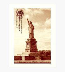 Statue Of Liberty Art - Vintage Sepia Tone New York City Landmark Art Print