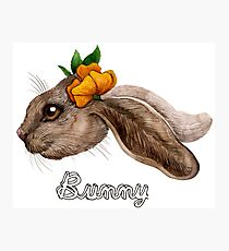 Bunny with Flower Photographic Print