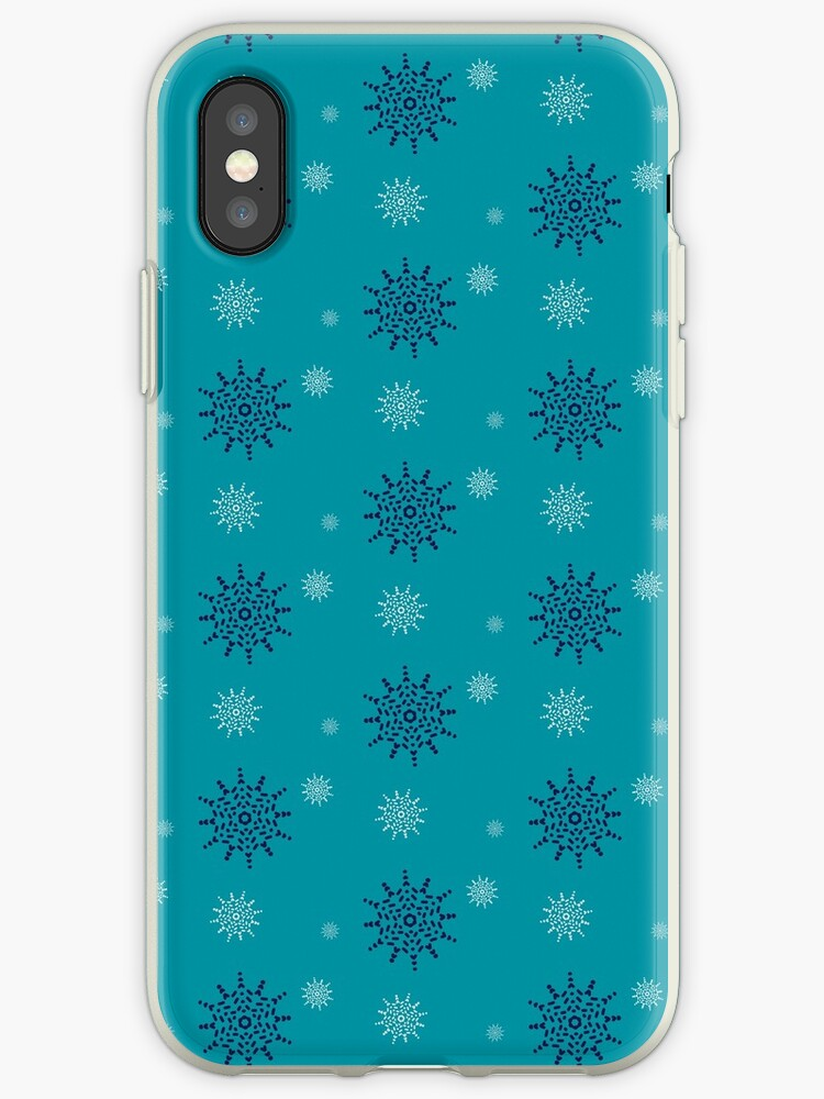 Blue and White Snowflakes on Turquoise by artkecco