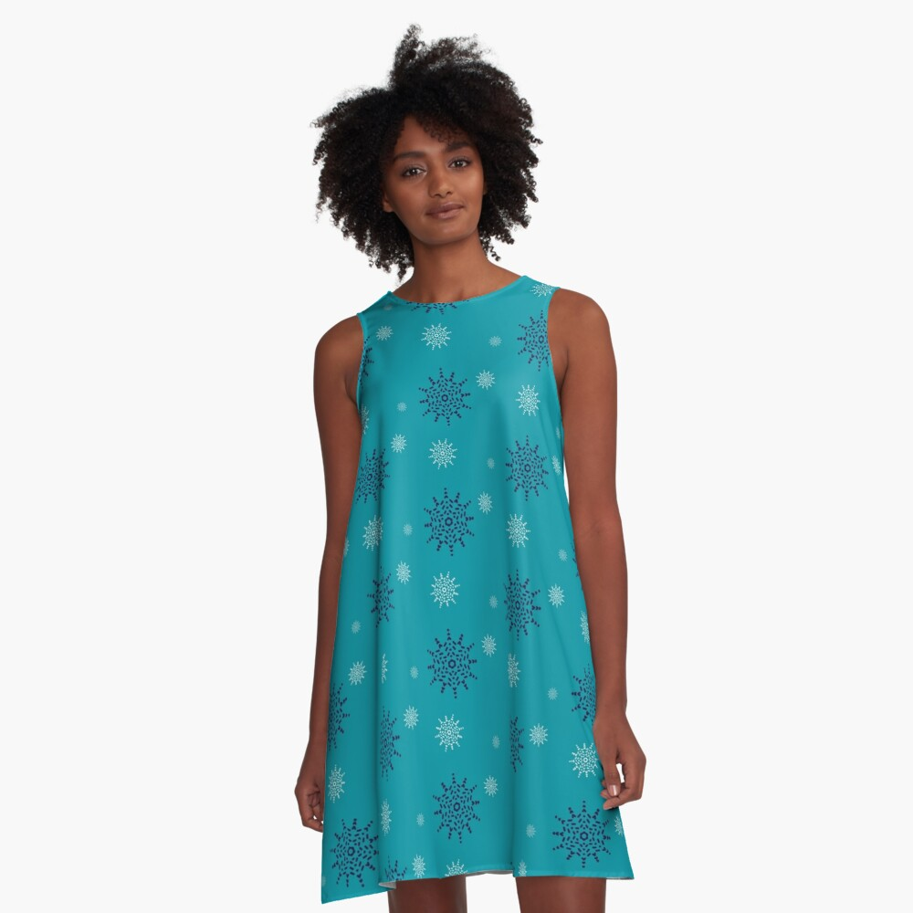 Blue and White Snowflakes on Turquoise A-Line Dress Front