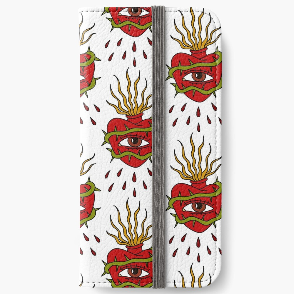 sacred heart illustration traditional tattoo flash iPhone Wallet