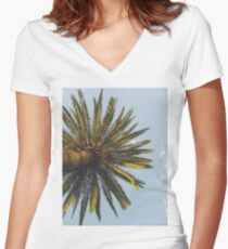 Palm Tree Print Cool Tropical Vintage T-shirt  Women's Fitted V-Neck T-Shirt
