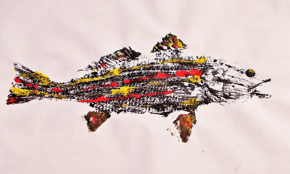 Gyotaku fish rubbing, Florida Redfish, Surreal color by alan barbour
