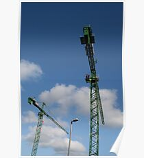 Two Cranes and a Lampost Poster