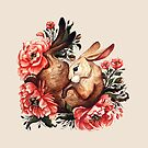 Rabbit and Flowers in Cream by Lindsey Bell