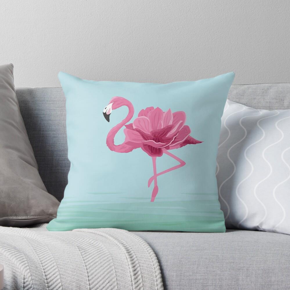 Flowermingo Throw Pillow