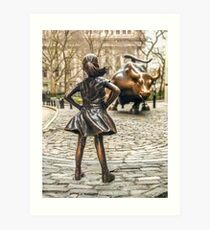 Fearless Girl And Wall Street Bull Statue - New York  Art Print