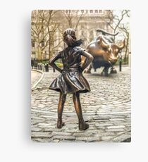 Fearless Girl And Wall Street Bull Statue - New York  Metal Print