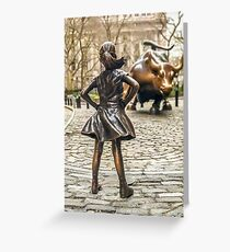 Fearless Girl And Wall Street Bull Statue - New York  Greeting Card