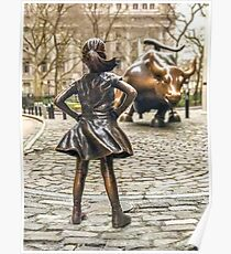 Fearless Girl And Wall Street Bull Statue - New York  Poster
