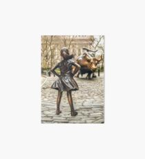 Fearless Girl And Wall Street Bull Statue - New York  Art Board