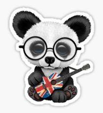 Baby Panda Playing Union Jack Guitar Sticker
