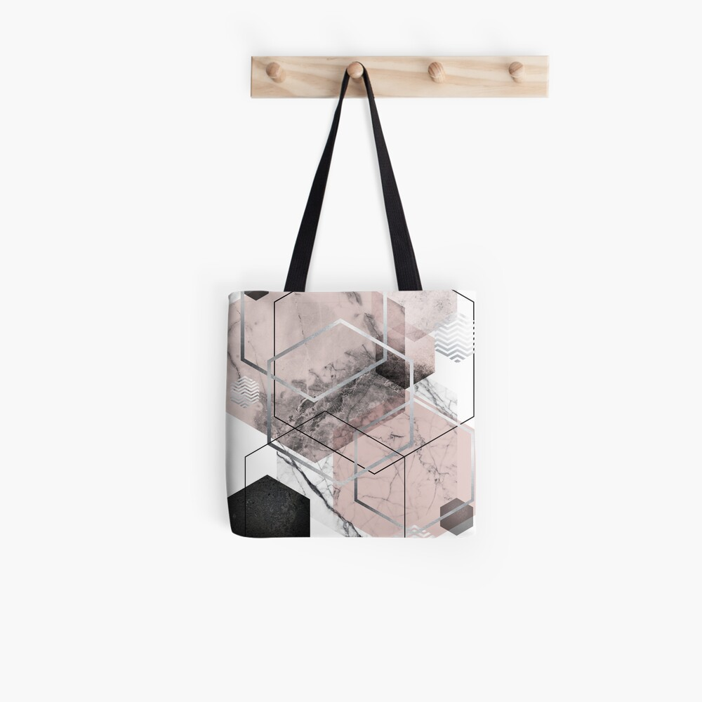 Blush and Grey Geometric Tote Bag
