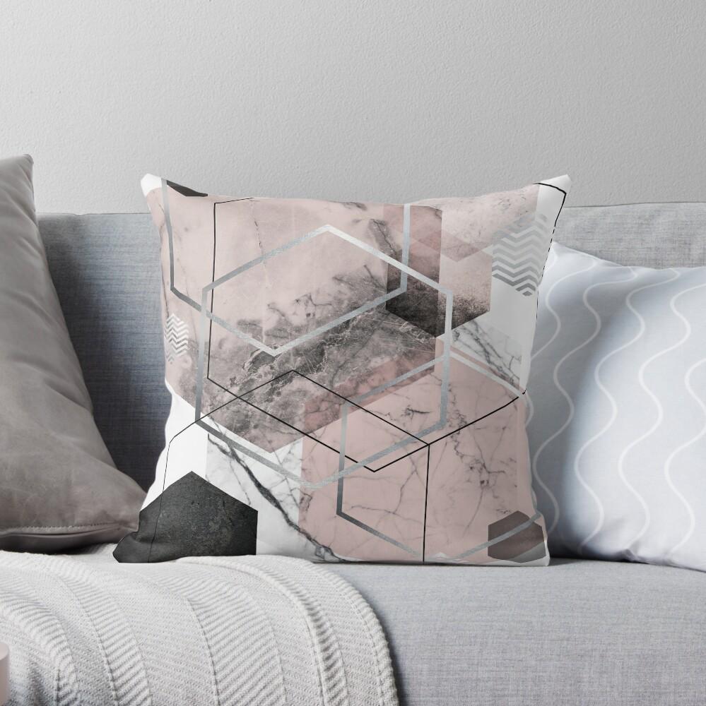 Blush and Grey Geometric Throw Pillow