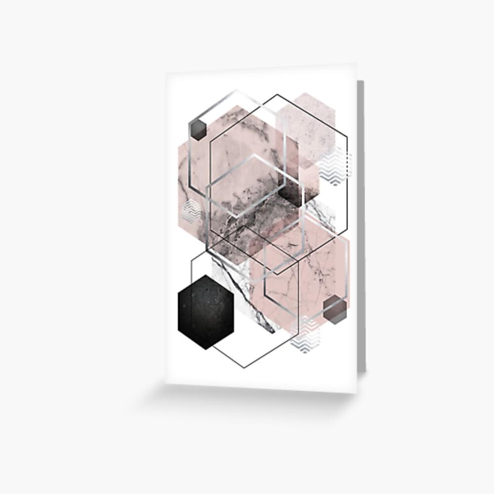 Blush and Grey Geometric Greeting Card