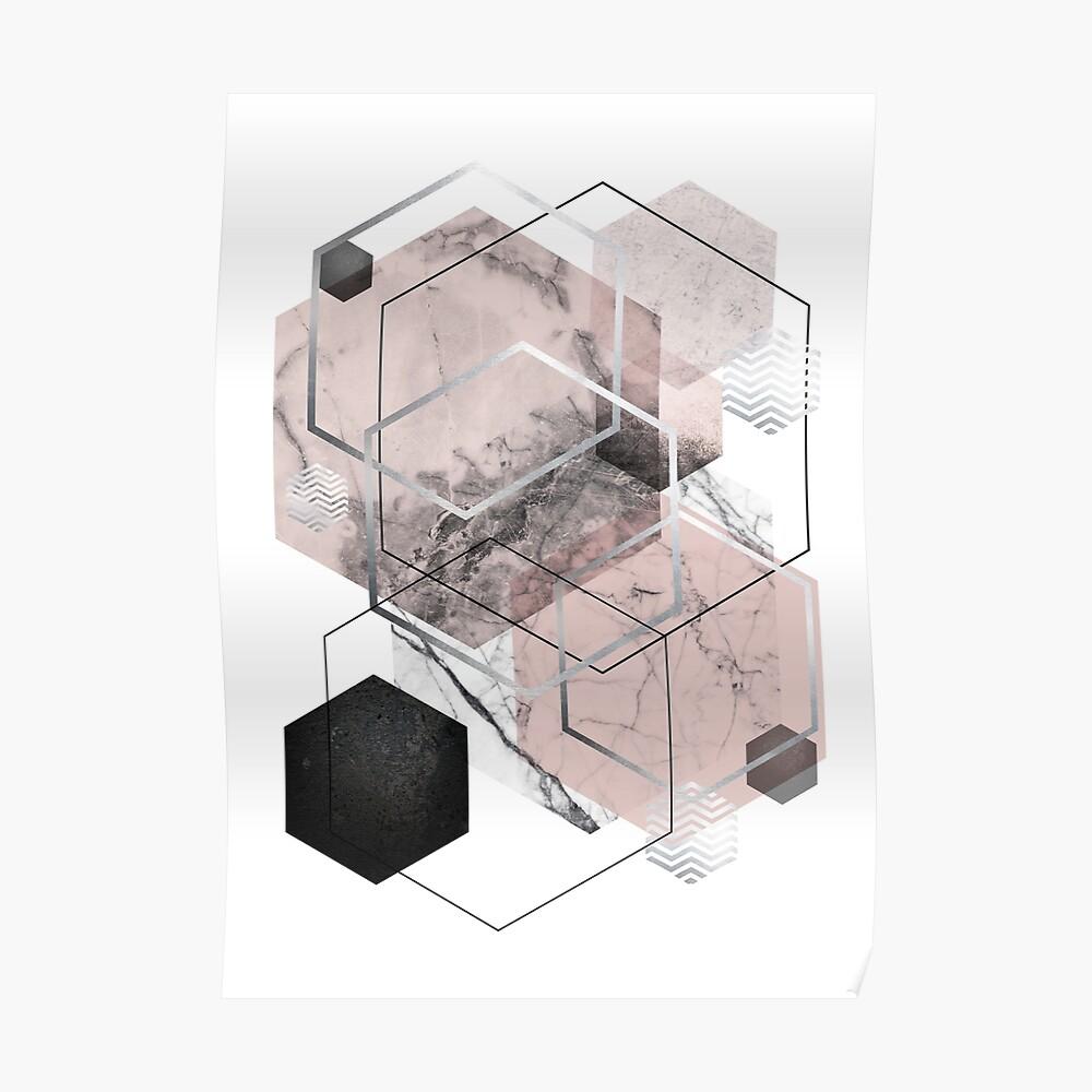 Blush and Grey Geometric Poster