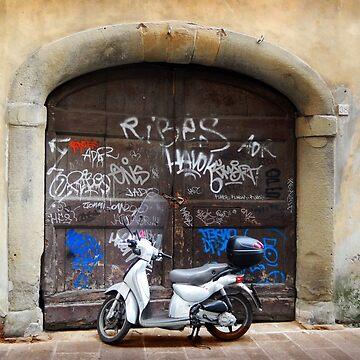Vespa and graffiti, Rome by rozmcq