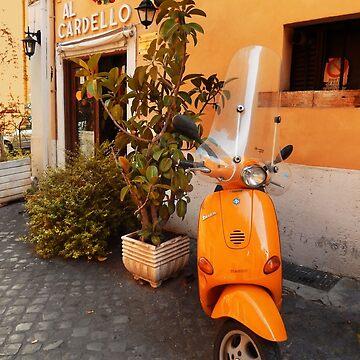 Yellow Vespa, Rome by rozmcq