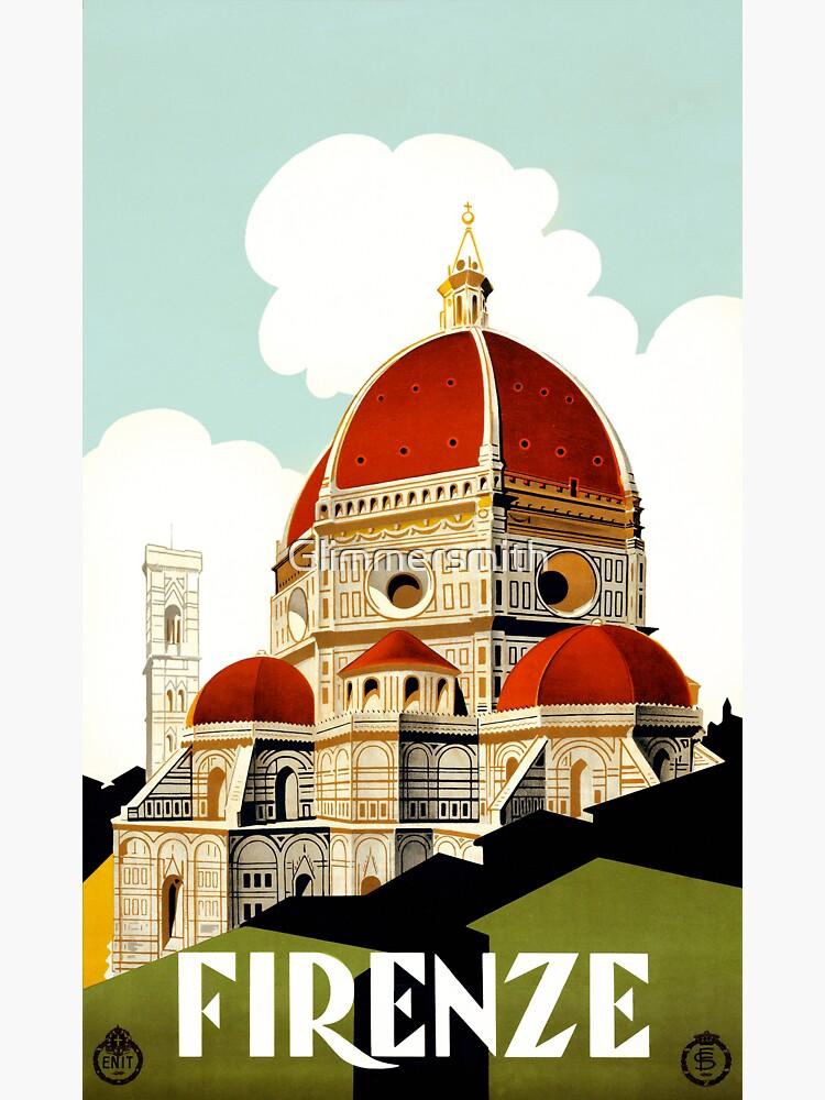 Weinlese-Florenz Firenze Italien Reiseplakat von Glimmersmith