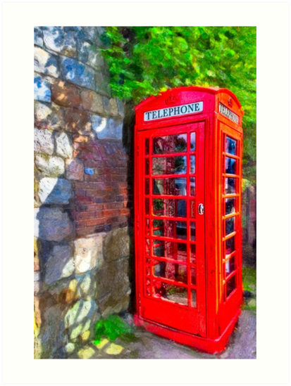 Avebury Village - Red British Phone Box by Mark Tisdale