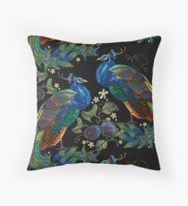 Embroidery peacocks Throw Pillow
