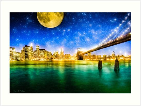 New York City Skyline Art - Moon Over Manhattan Fantasy by Mark Tisdale