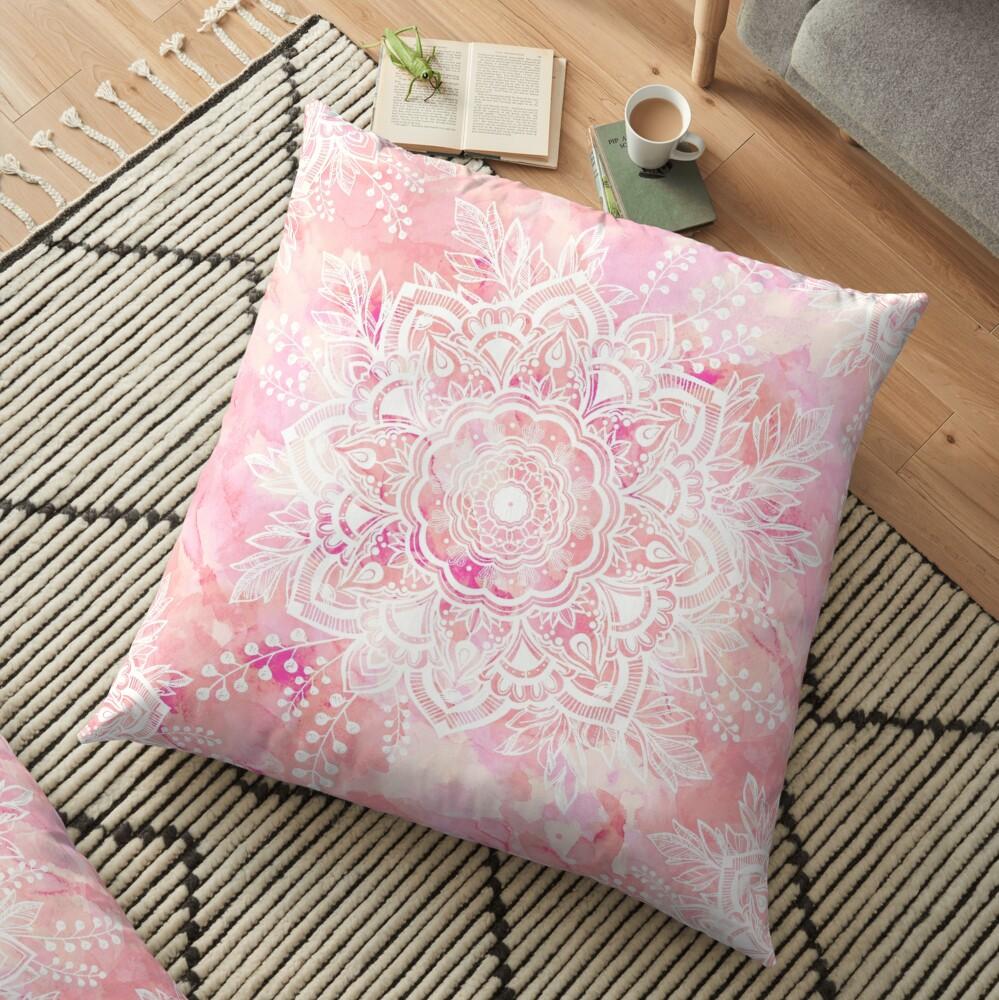 Queen Starring of Mandalas Pink Floor Pillow