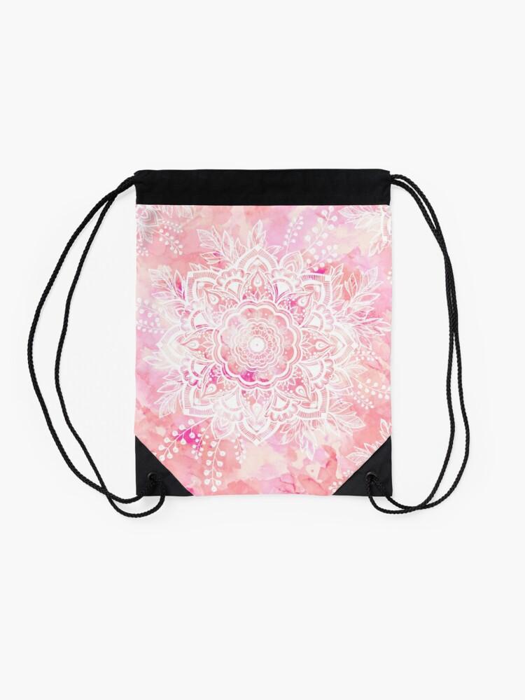 Alternate view of Queen Starring of Mandalas Pink Drawstring Bag