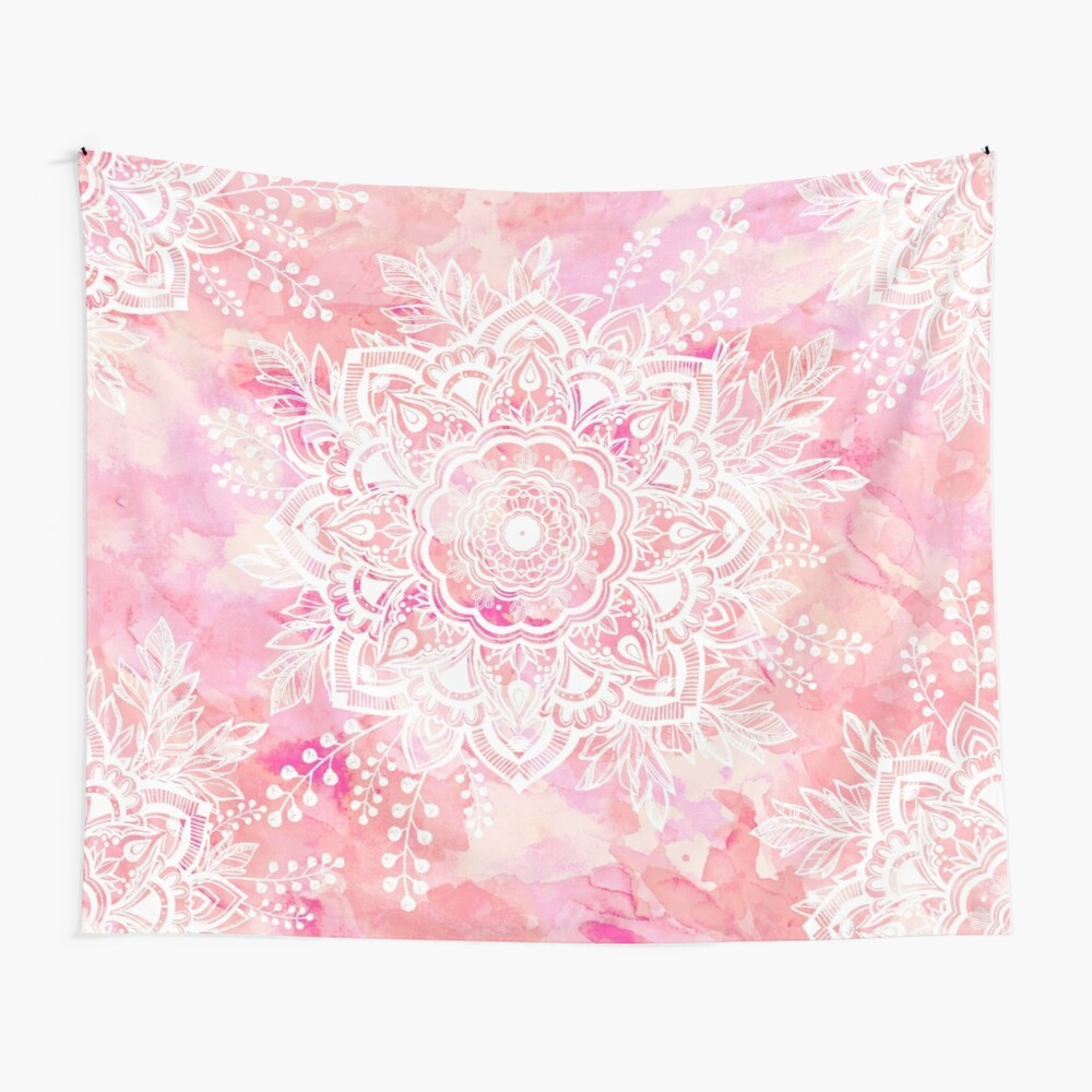 Queen Starring of Mandalas Pink Wall Tapestry