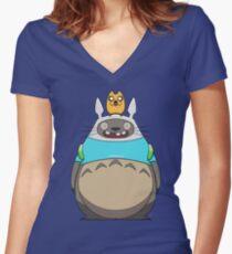 Finn Totoro Women's Fitted V-Neck T-Shirt