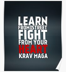 Learn from the street Krav Maga RED Poster