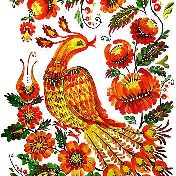 Firebird Petrykivka Ukrainian art by Redilion