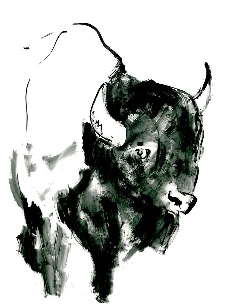 Timid Bison,Canadian Animal, acrylic illustration by foxandbadger