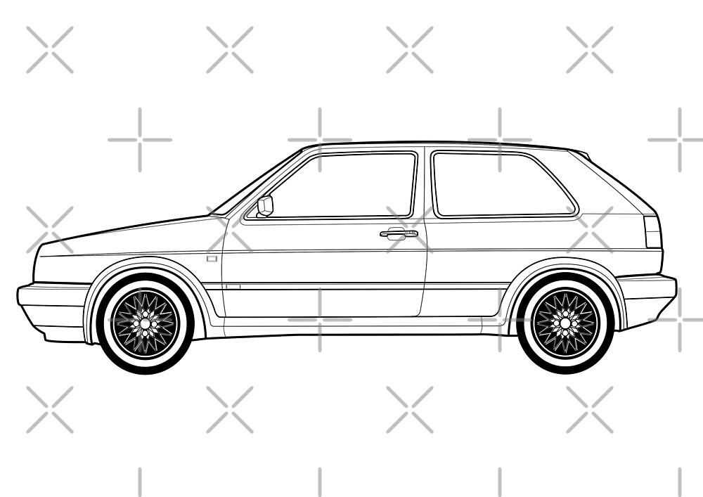 MK2 Golf GTI Strichzeichnung Kunstwerk\