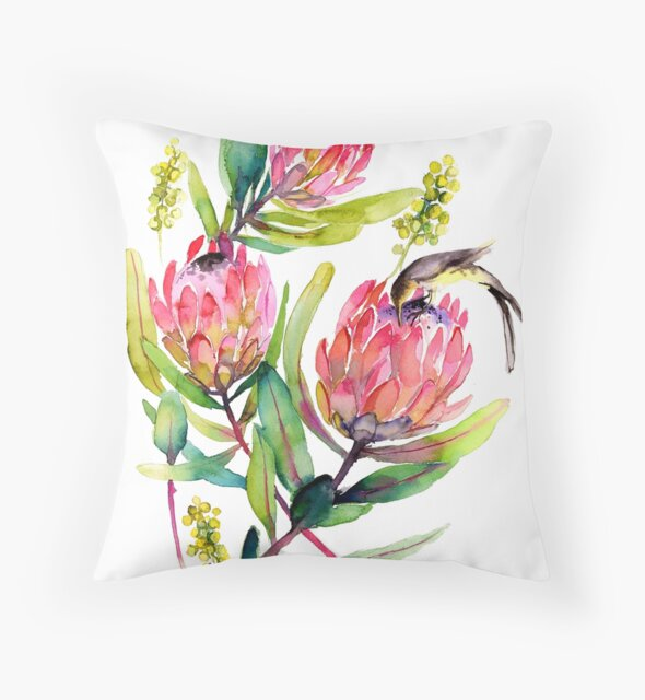 Pink Protea and Bird Watercolor Painting Big Pink Blossoms by thefirstgarden