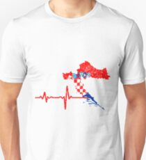Heartbeat Croatia Silhouette Unisex T-Shirt