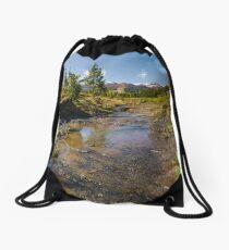 rural scenery in Ukrainian alps Drawstring Bag
