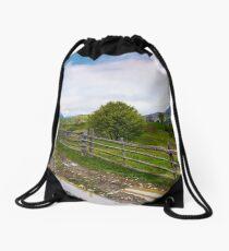 country road through mountainous rural area Drawstring Bag