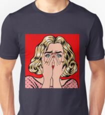 Shocked Woman. Woman Closes Eyes with Her Hands. Pop Art.  Unisex T-Shirt