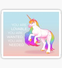 """You Are Lovable"" Rainbow Unicorn Sticker"