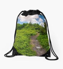 beautiful mountain landscape with grassy hills Drawstring Bag