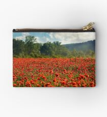 poppy field in summer evening Studio Pouch